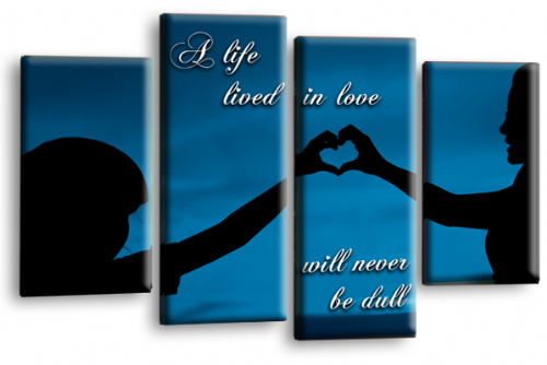 Life Quote Wall Art Print Blue Black Love Picture Split Panel